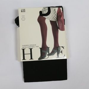 HUE || Black Sueded w/ Control Top Legging Tights
